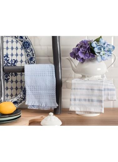 Madame Coco Gemma Mutfak Havlu Seti - Beyaz / Açık Mavi Beyaz
